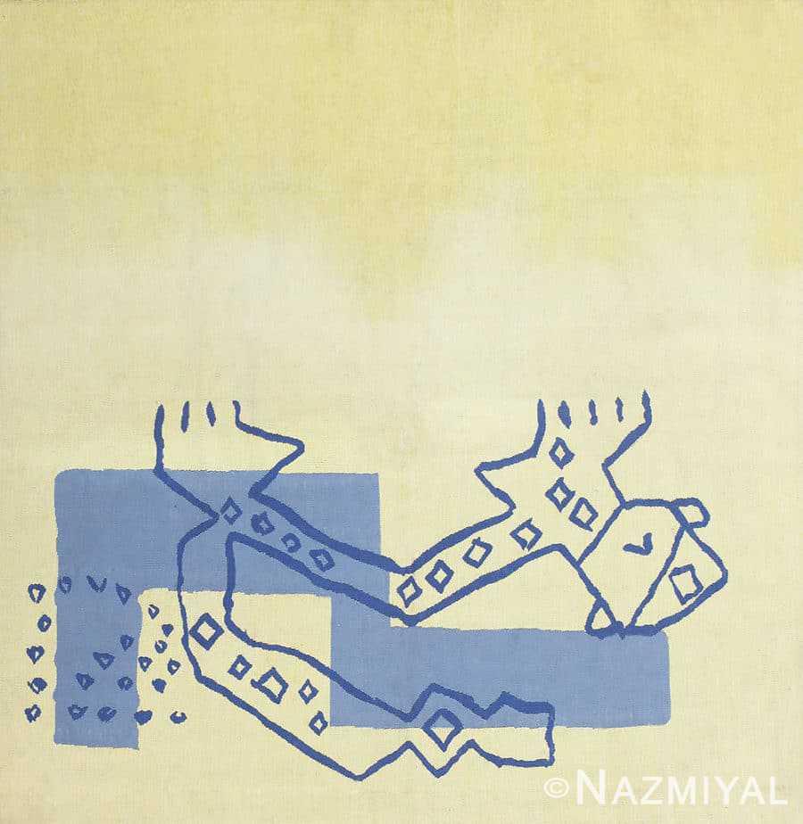 Square Vintage Art Deco French Tapestry Rug 48832 Nazmiyal