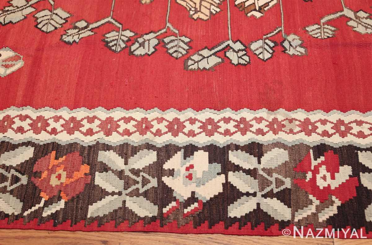 vintage floral turkish kilim rug 50678 border Nazmiyal