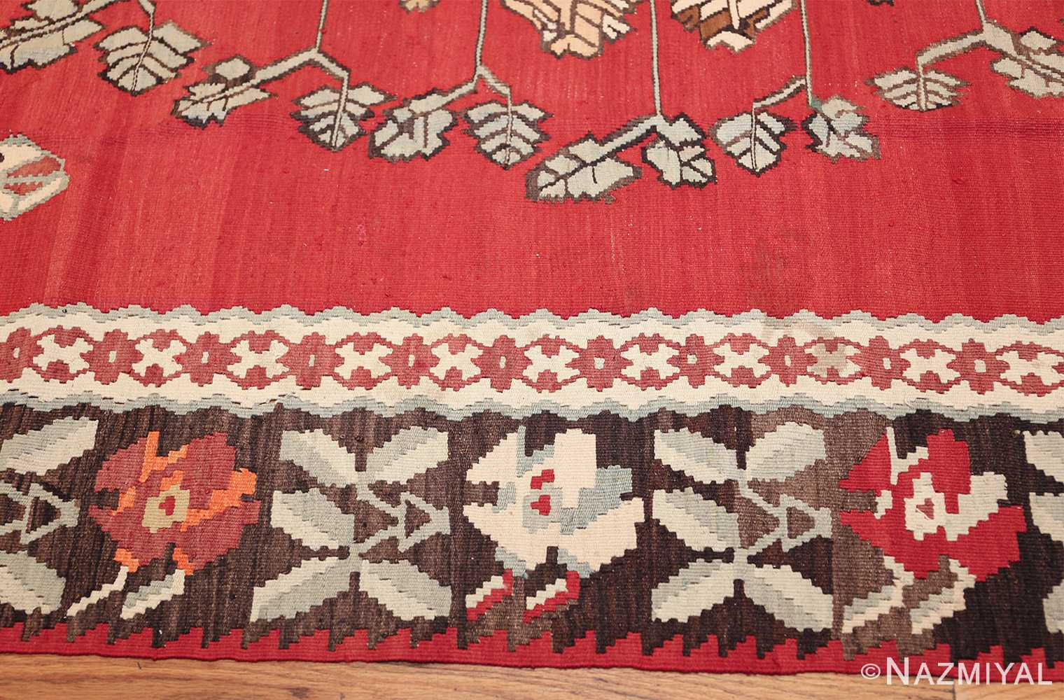 vintage floral turkish kilim rug 50678 border Nazmiyal