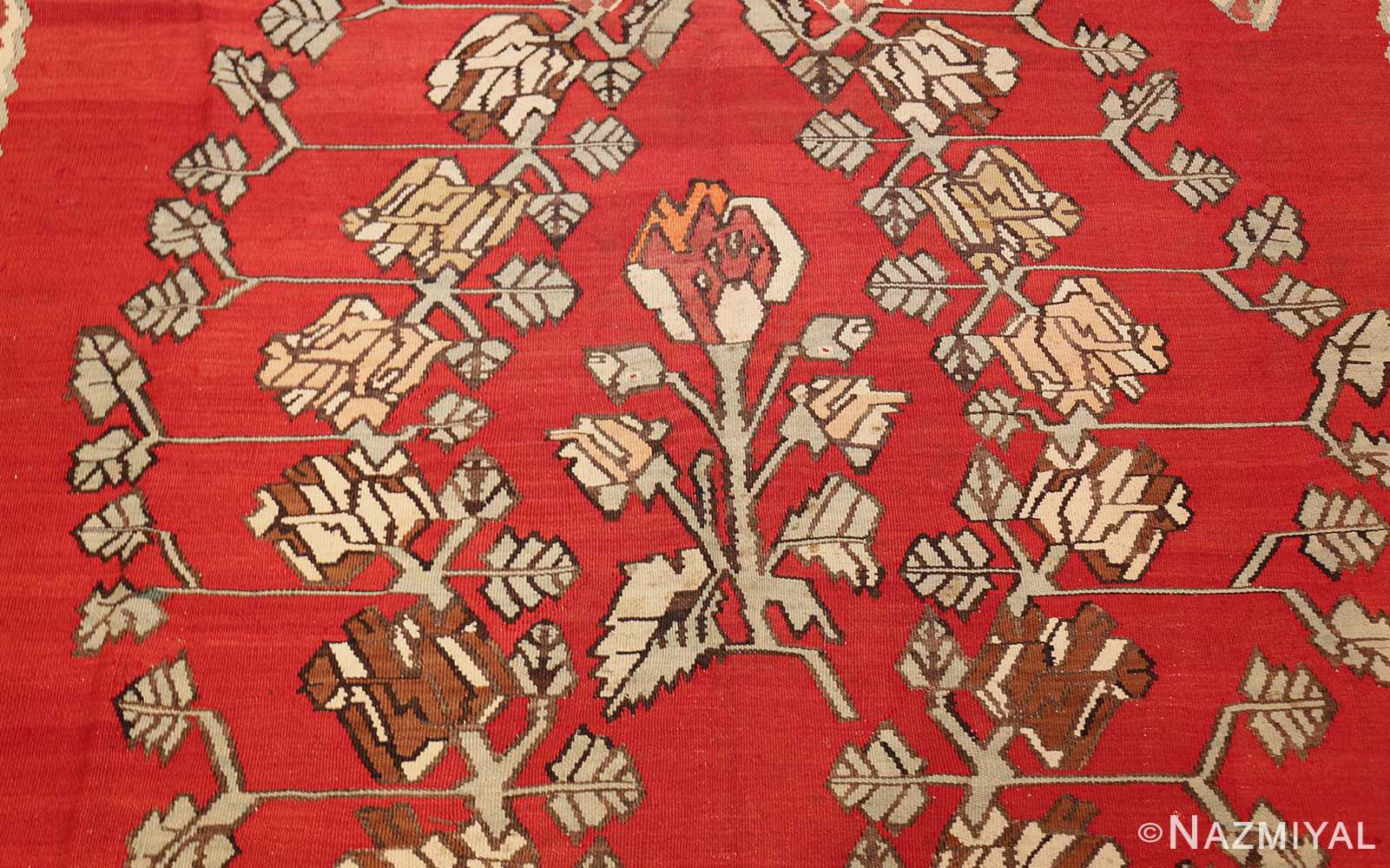 vintage floral turkish kilim rug 50678 center Nazmiyal