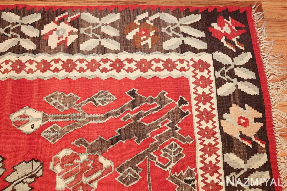 vintage floral turkish kilim rug 50678 corner Nazmiyal
