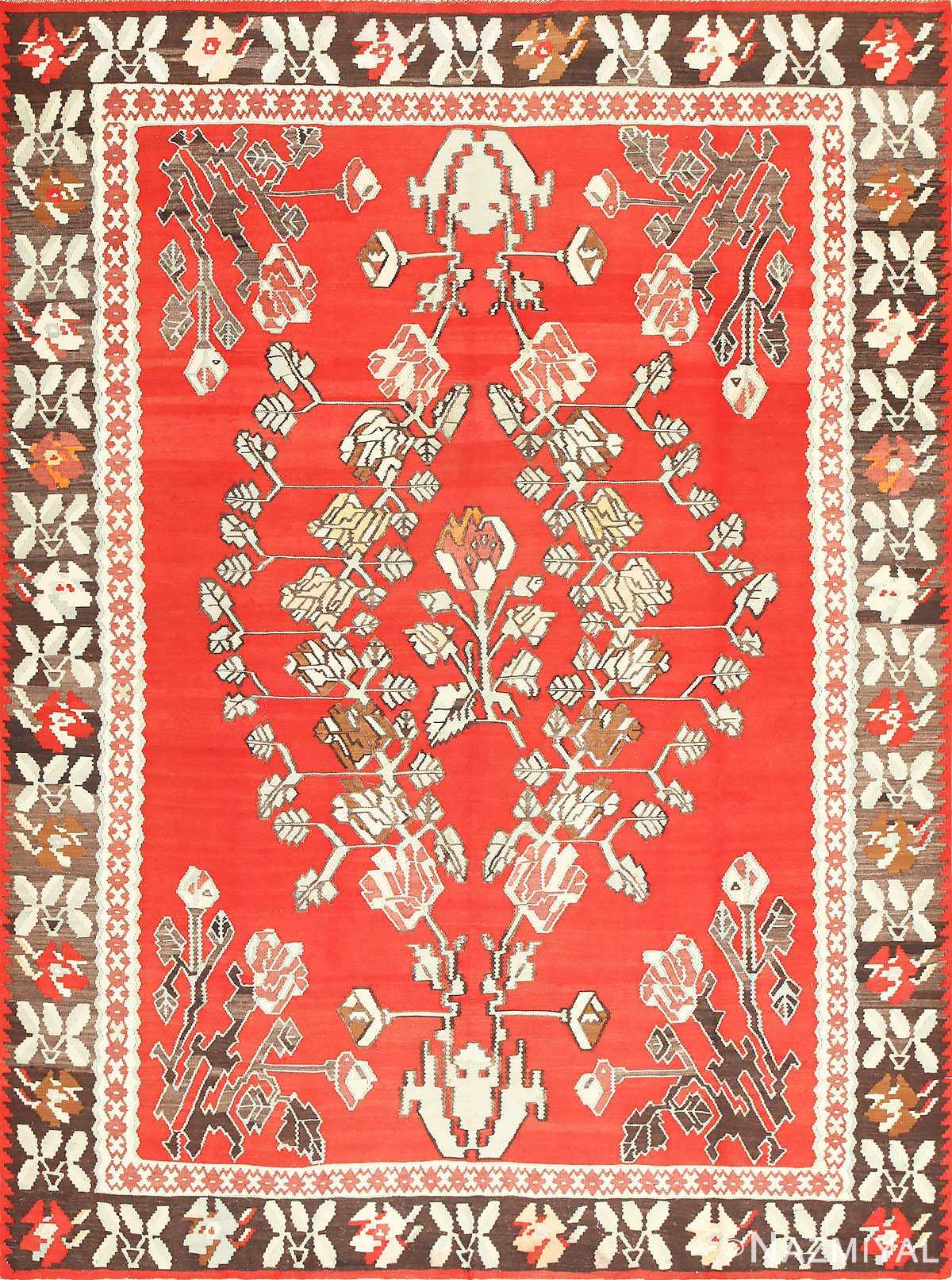 Vintage Floral Turkish Kilim Rug 50678 Nazmiyal