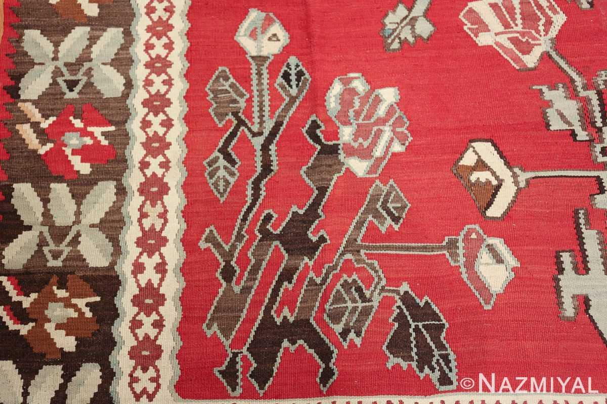 vintage floral turkish kilim rug 50678 rose Nazmiyal