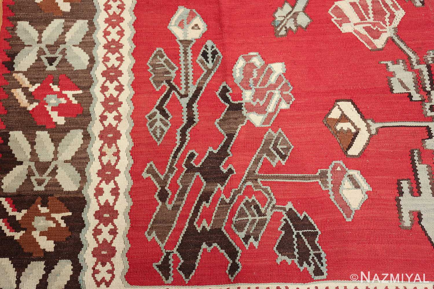 vintage floral turkish kilim rug 50678 rose Nazmiyal