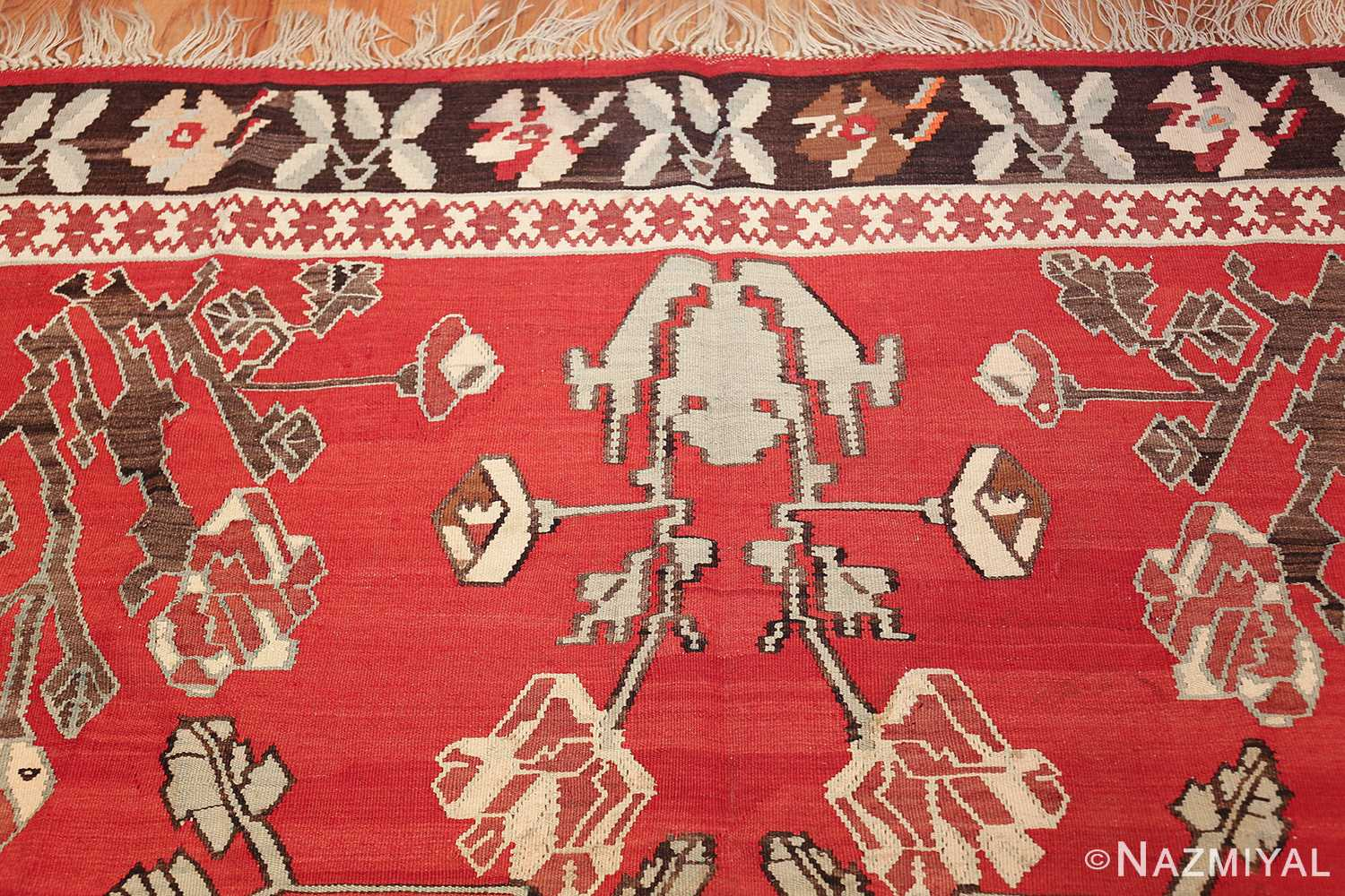 vintage floral turkish kilim rug 50678 top Nazmiyal
