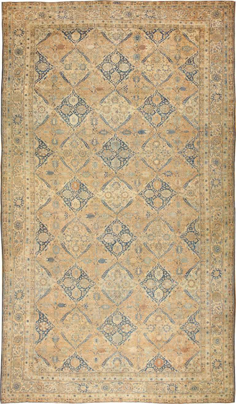 Antique Oversized Lattice Design Persian Khorassan Rug 48268 Nazmiyal