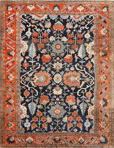 Antique Persian Blue Colored Heriz Rug 48860 Nazmiyal