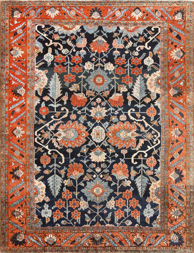 Antique Persian Blue Colored Heriz Rug 48860 Nazmiyal