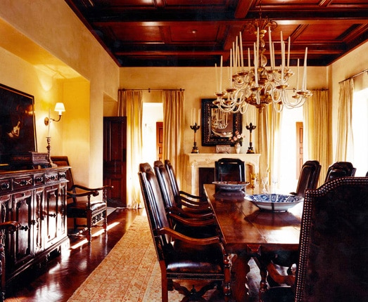 Dining Room Decorated With Antique Rug By Michael Smith Interiors by Nazmiyal