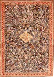 Large 18th Century Rare Antique Kurdish Shrub Design Rug 47430 Nazmiyal