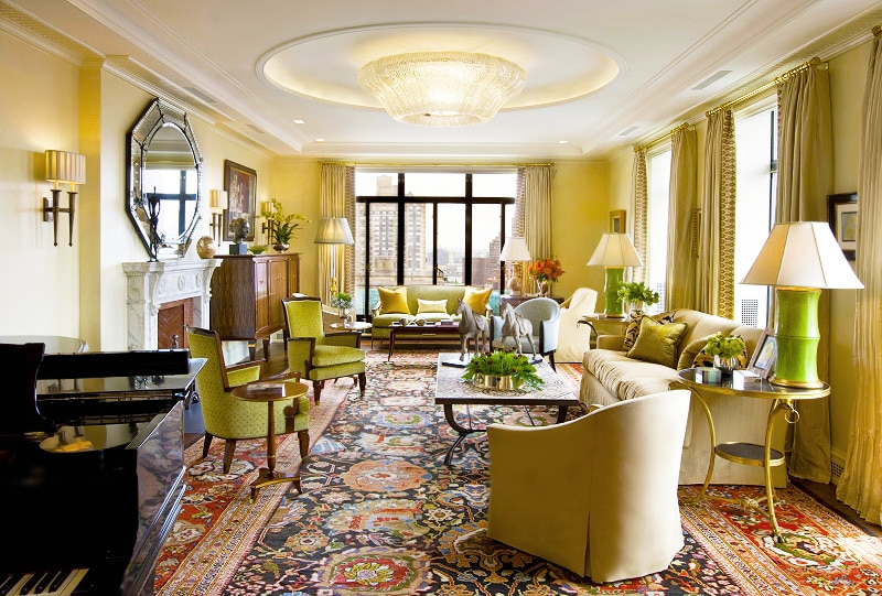 NYC Living Room With Antique Persian Sultanabad Rug - Decorated by Jed Johnson and Associates by Nazmiyal