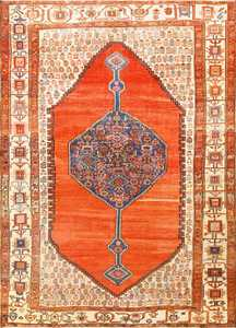 Room Size Antique Medallion Persian Serapi Bakshaish Rug 48859 Nazmiyal