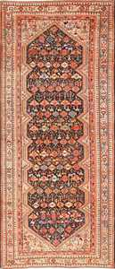Tribal Antique Qashqai Persian Gallery Size Rug 48881 Nazmiyal