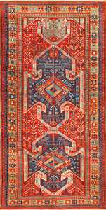 Tribal Gallery Size Runner Antique Caucasian Kazak Rug 48934 Nazmiyal