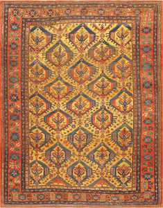 Tribal Gold Background Antique Persian Bakshaish Rug 48936 Nazmiyal