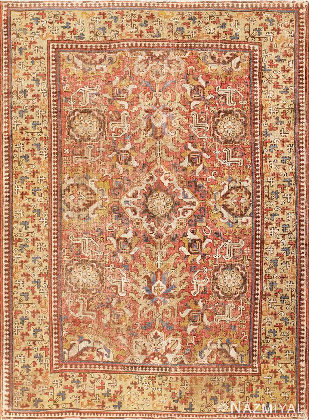 17th Century Antique Caucasian Kuba Blossom Carpet 48855 Nazmiyal