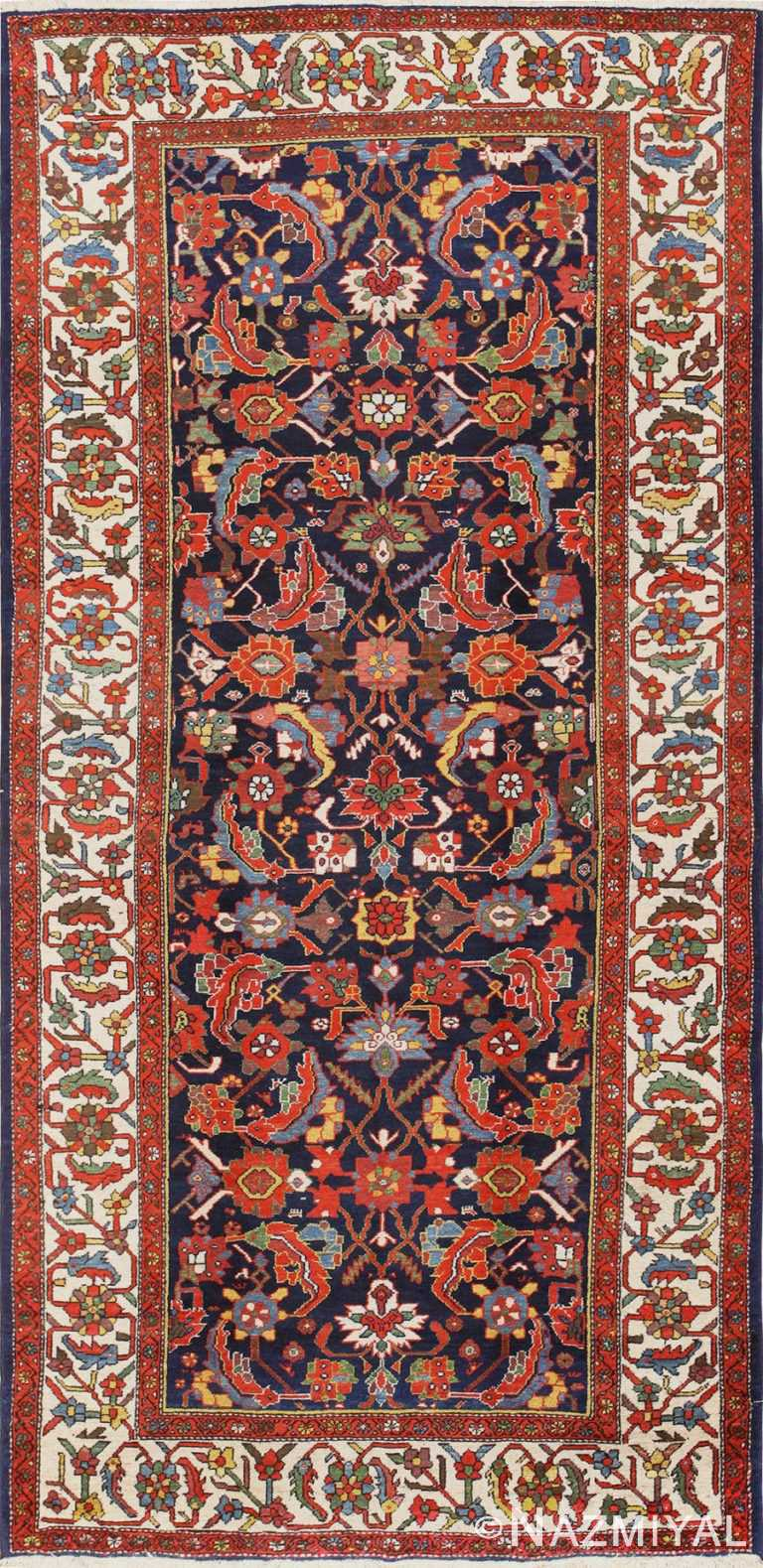 Antique Gallery Size Blue Persian Malayer Rug 48880 Nazmiyal