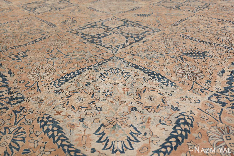 Antique Oversized Lattice Design Persian Kerman Rug 48268 Blue Medallion Nazmiyal
