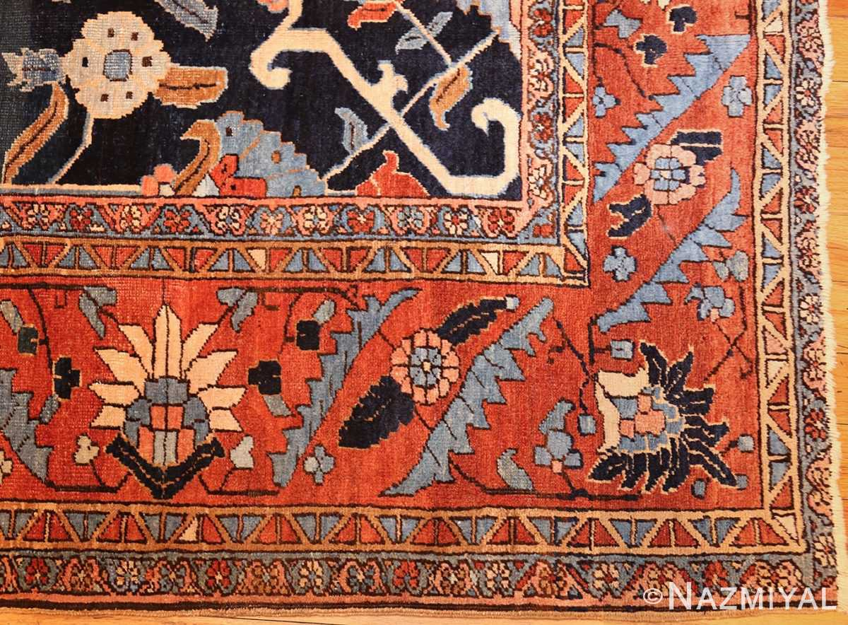 antique persian blue colored heriz rug 48860 corner Nazmiyal