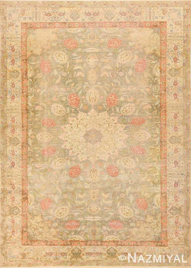 Antique Silk Turkish Kayseri Shabby Chic Rug 48938 Nazmiyal