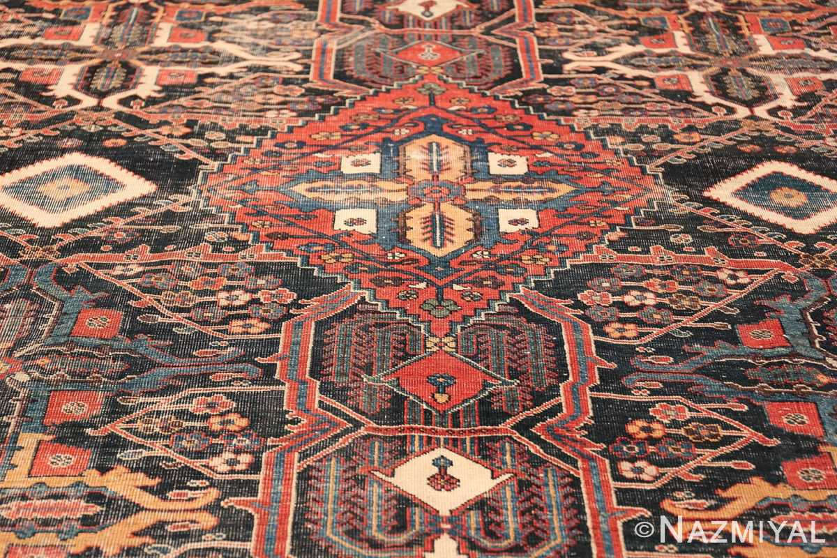 Antique Tribal Persian Bakhtiari Shabby Chic Rug 48937 Center Gold Diamond Nazmiyal