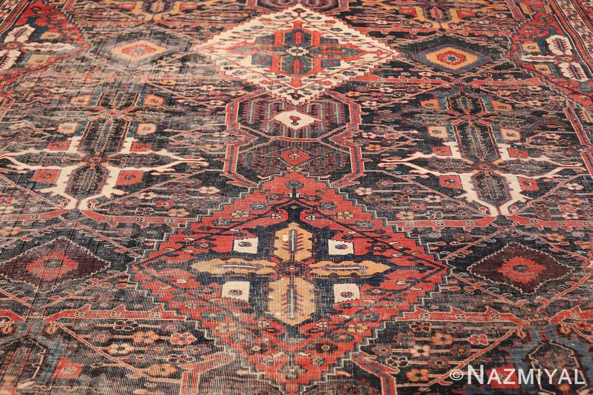 Antique Tribal Persian Bakhtiari Shabby Chic Rug 48937 Double Medallion Nazmiyal