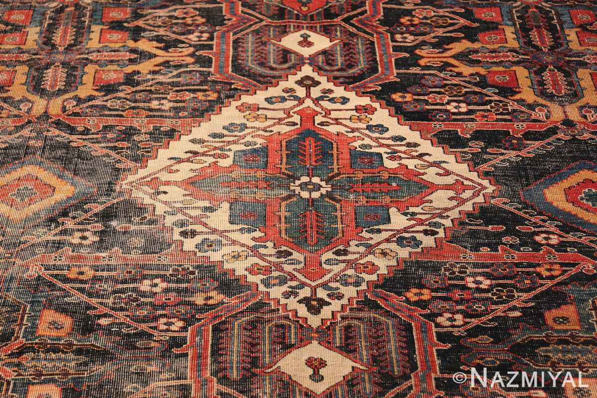 Antique Tribal Persian Bakhtiari Shabby Chic Rug 48937 White Medallion Nazmiyal