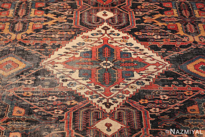 Antique Tribal Persian Bakhtiari Shabby Chic Rug 48937 White Medallion Nazmiyal