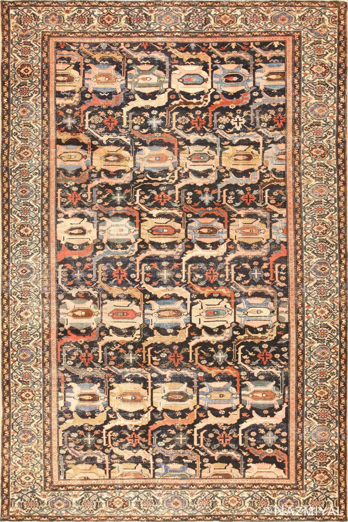 Antique Tribal Shabby Chic Antique Malayer Rug 48935 Nazmiyal