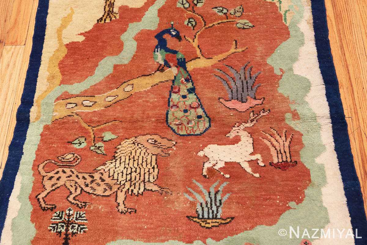 Center Antique Small Animal Scene Mazlatapan Indian rug 48432 by Nazmiyal
