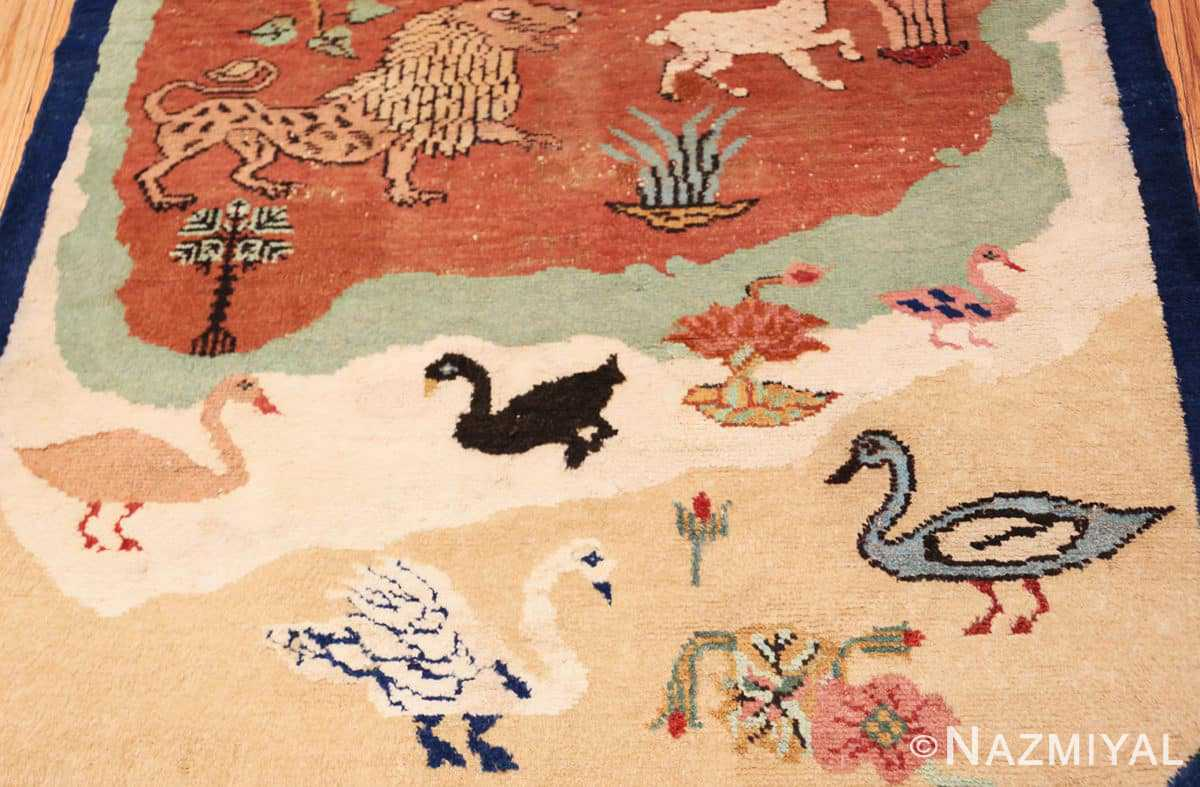 Close-up Antique Small Animal Scene Mazlatapan Indian rug 48432 by Nazmiyal