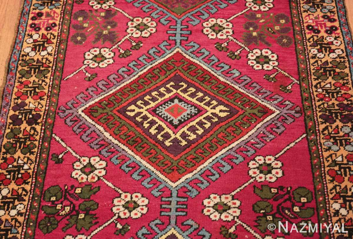 Close-up Tribal Antique Turkish Kisheshir runner rug 48883 by Nazmiyal