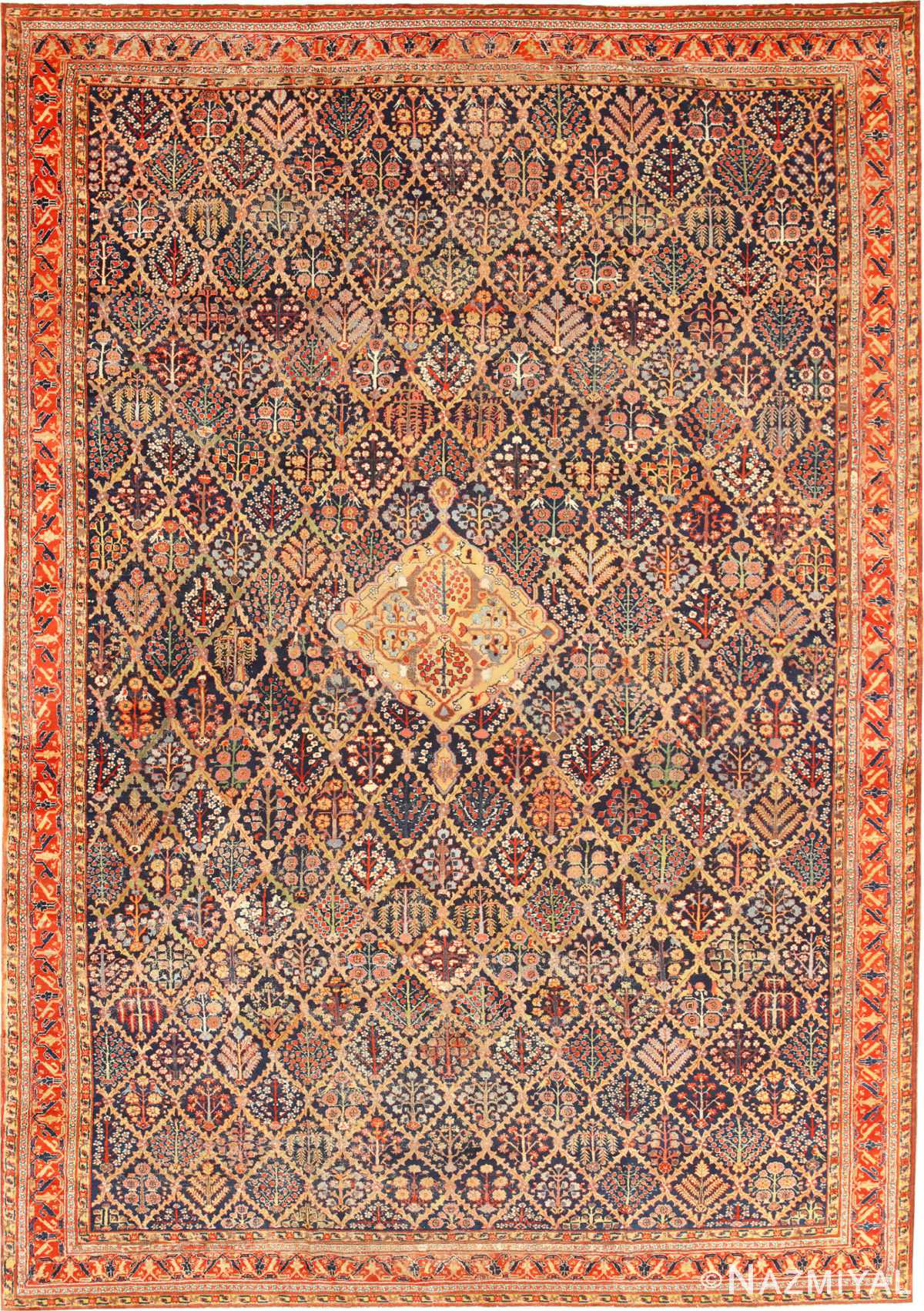 Large 18th Century Rare Antique Kurdish Shrub Design Rug 47430 Nazmiyal