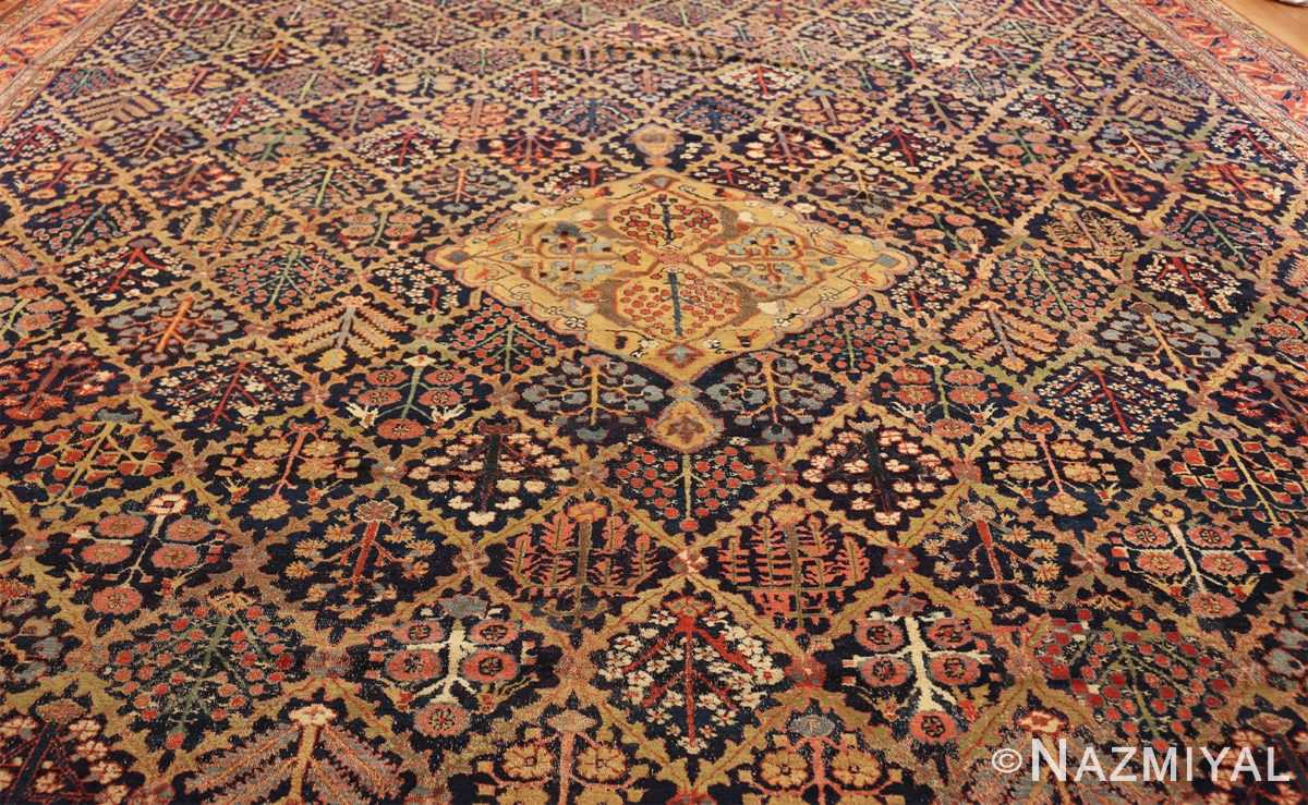 large 18th century rare antique kurdish shrub design rug 47430 field Nazmiyal