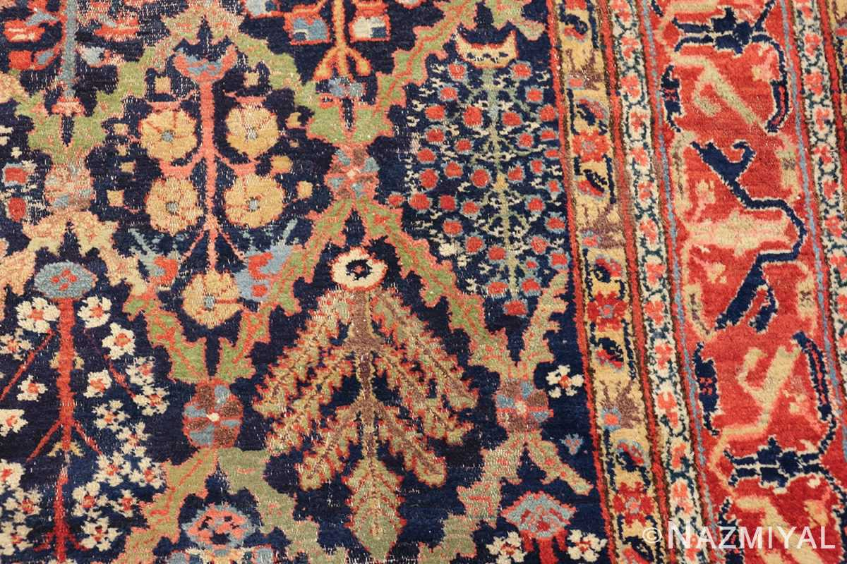 large 18th century rare antique kurdish shrub design rug 47430 green Nazmiyal