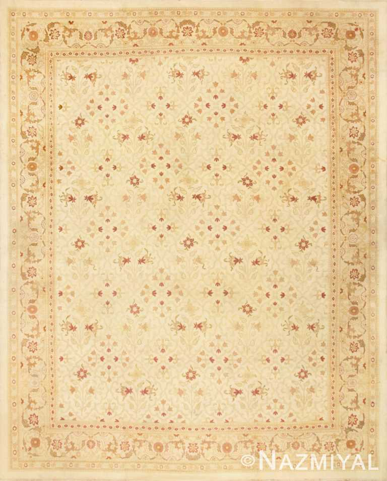 Large Cream Background Antique Indian Amritsar Rug 50658 Nazmiyal