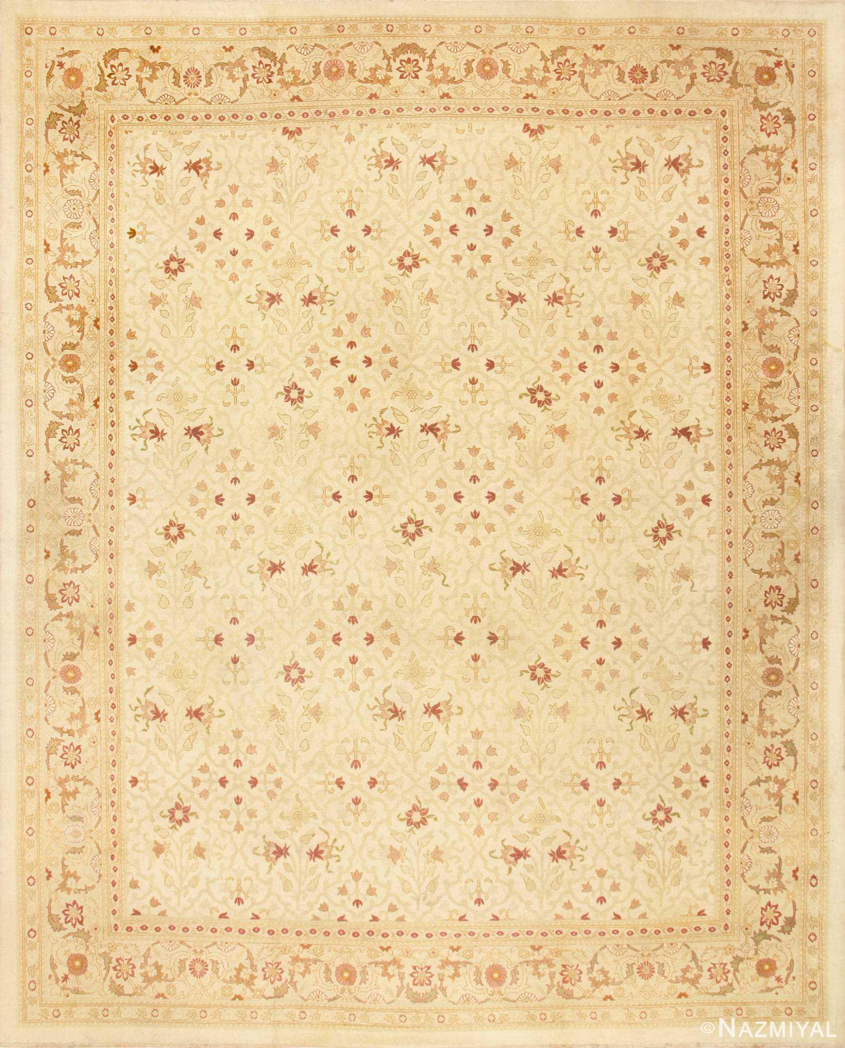Large Cream Background Antique Indian Amritsar Rug 50658 Nazmiyal