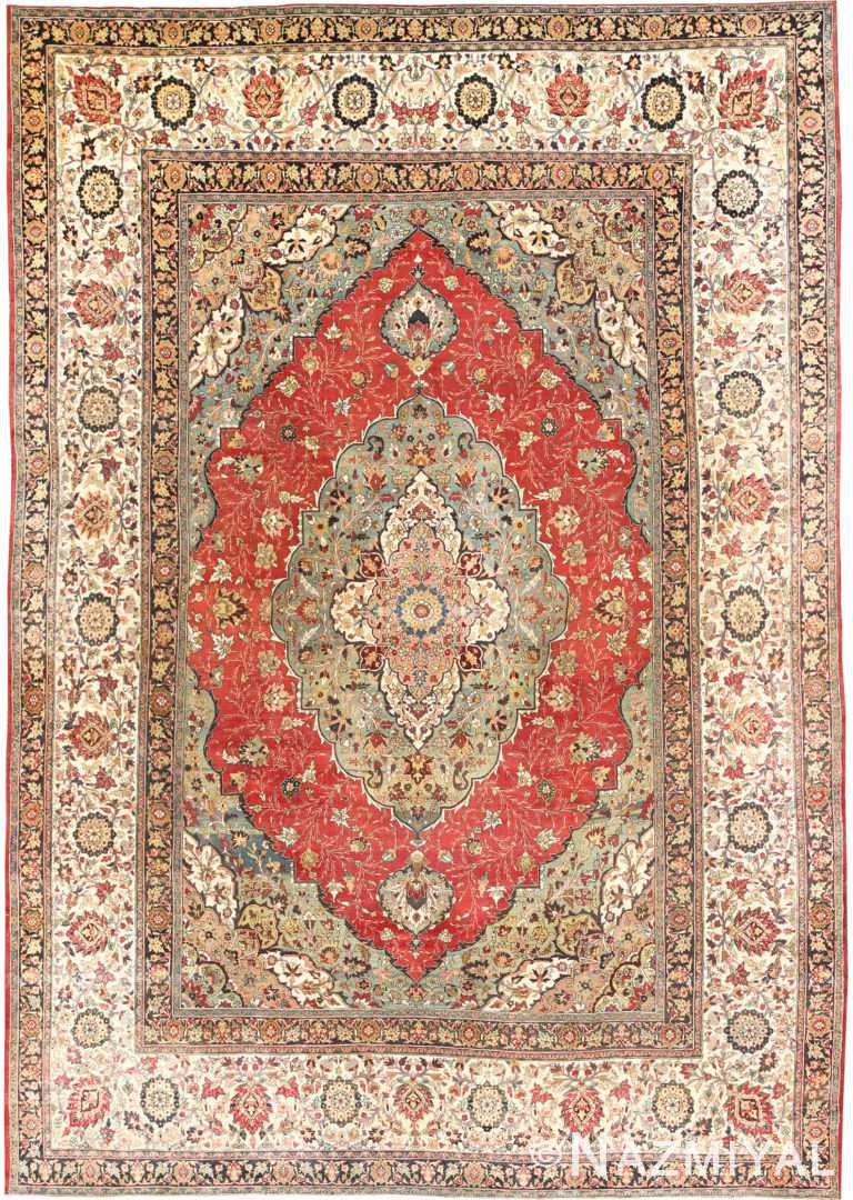 Large Finely Woven Antique Persian Tabriz Rug 50652