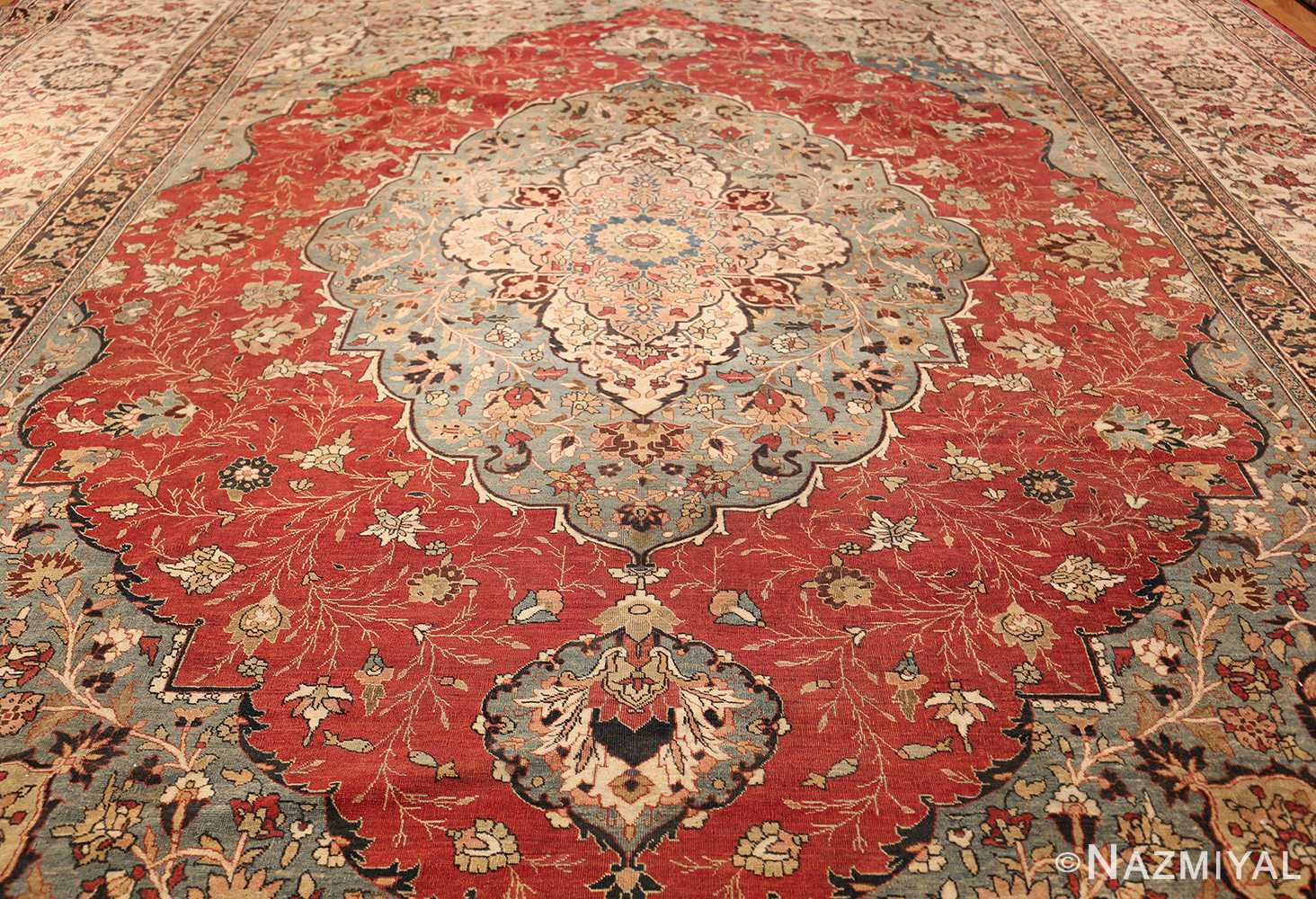 large finely woven antique persian tabriz rug 50652 field Nazmiyal