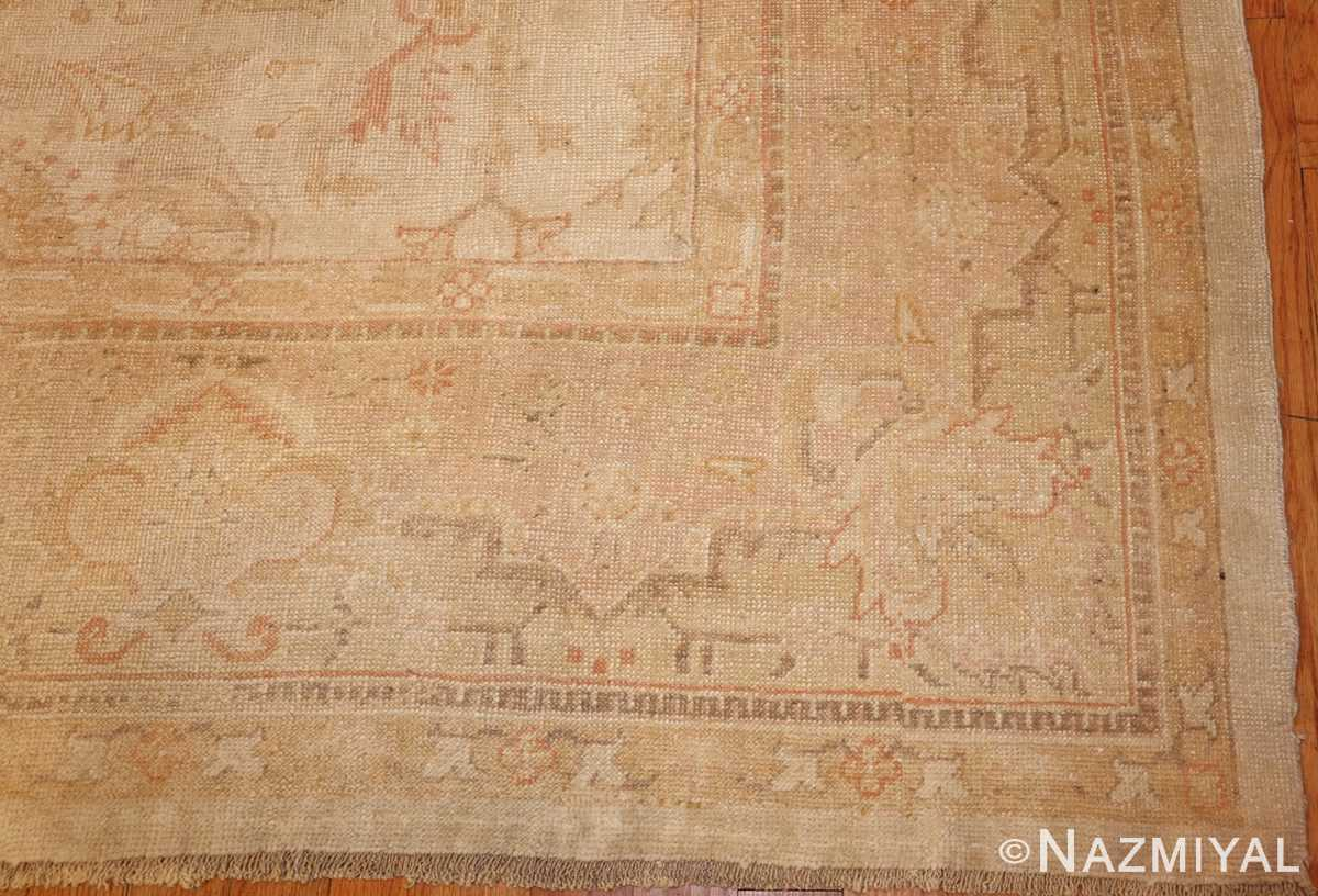 large square size antique decorative turkish oushak rug 48377 corner Nazmiyal