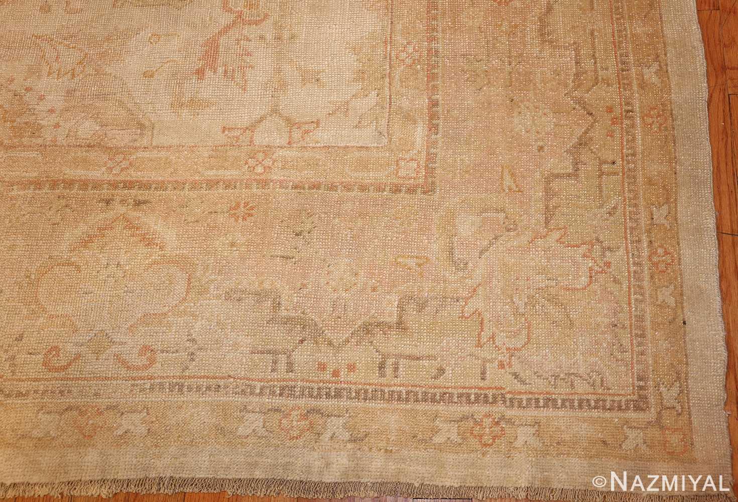 large square size antique decorative turkish oushak rug 48377 corner Nazmiyal