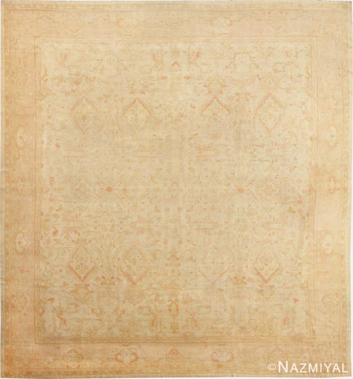 Large Square Size Antique Decorative Turkish Oushak Rug 48377 Nazmiyal