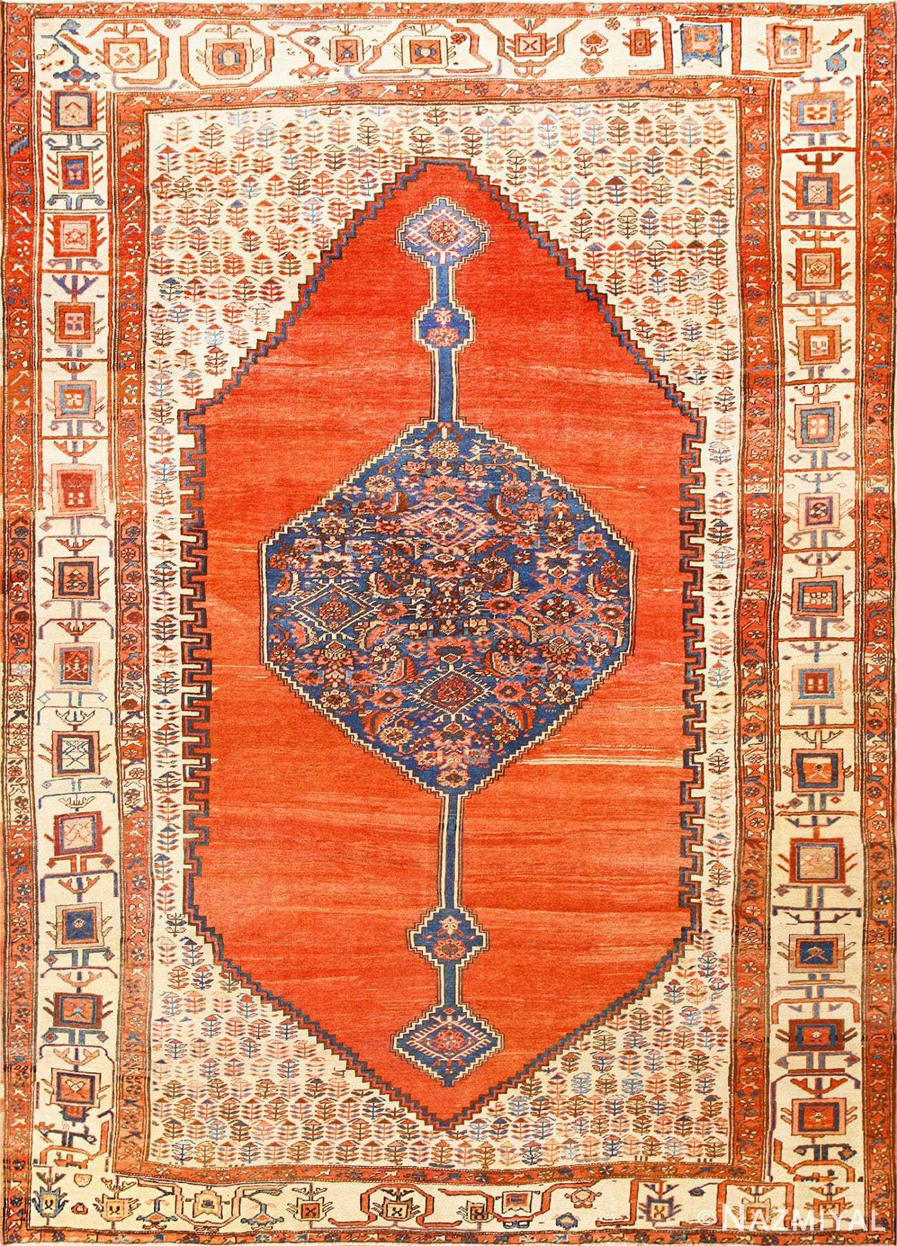 Room Size Antique Medallion Persian Serapi Bakshaish Rug 48859 Nazmiyal