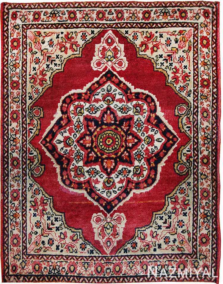 Small Mat Size Antique Persian Kerman Floral Rug 50688 Nazmiyal