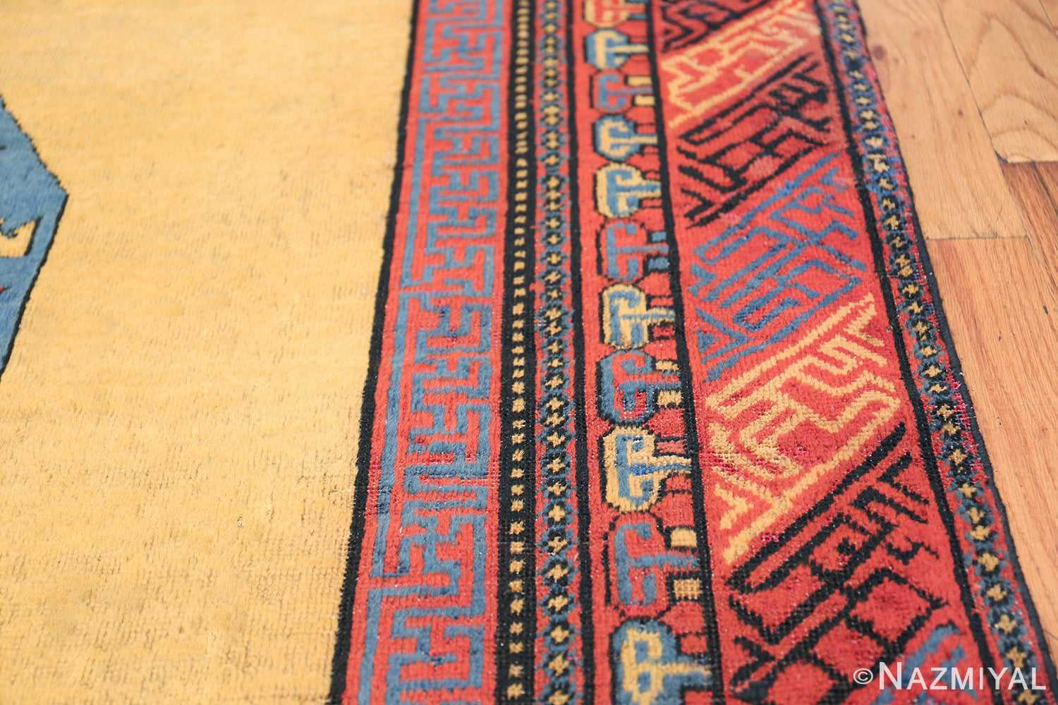 Small Room Size Funky and Tribal Antique Khotan Rug 48784 Border Design Nazmiyal