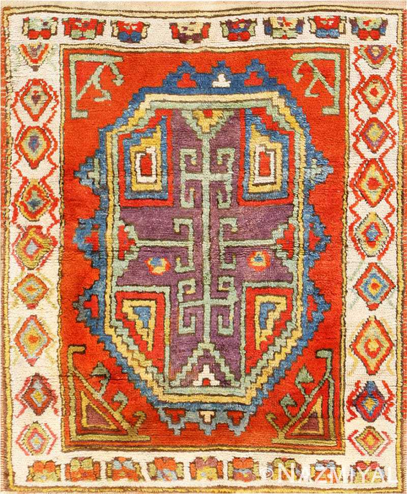 Vintage Mexican Zapotec Rug In Small Size With Stylized: Small Rare Collectible Antique Turkish Konya Rug 48875