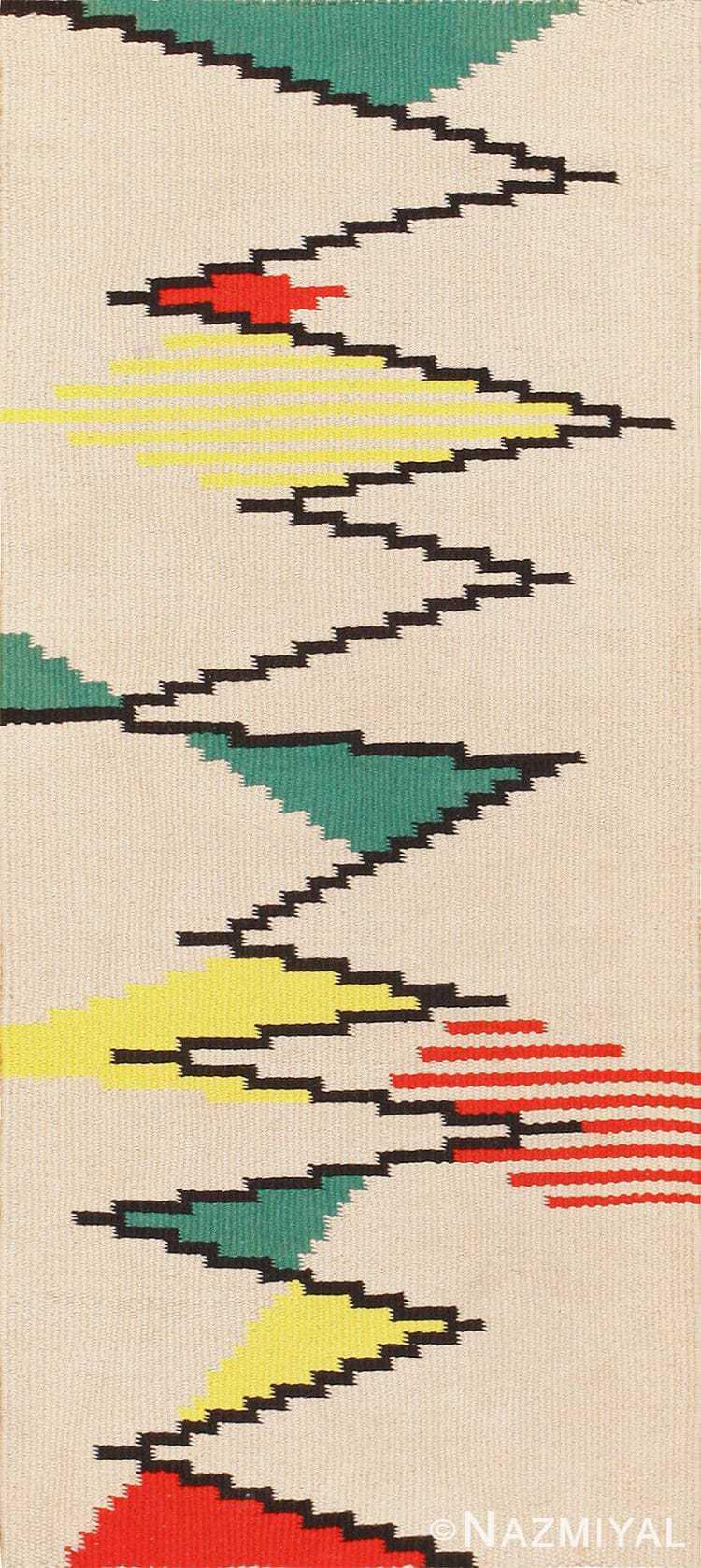 Small Vintage Swedish Scandinavian Kilim Rug by Artist Antonin Kybal 48895 Nazmiyal