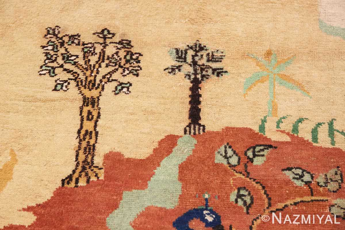 Tree Antique Small Animal Scene Mazlatapan Indian rug 48432 by Nazmiyal