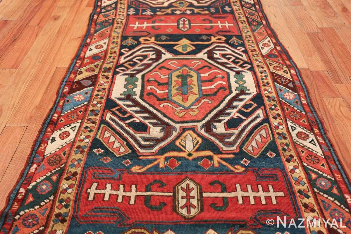 Tribal Antique Caucasian Lankoran Runner Rug 48929 Central Medallion Nazmiyal