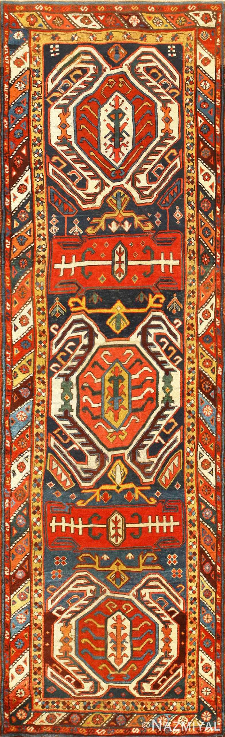 Tribal Antique Caucasian Lankoran Runner Rug 48929 Nazmiyal